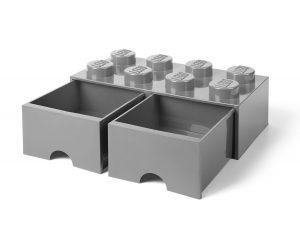 brique gris pierre de rangement lego 5005720 a tiroir et a 8 tenons