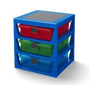 systeme de rangement lego 5006179 bleu transparent